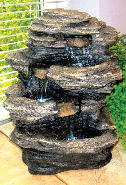 Mini Leisteen Waterval met verlichting- Binnenshuis