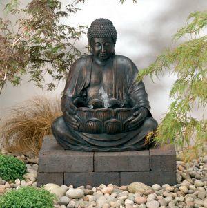 Boeddhabeeld Met Fontein.Boeddha Fontein Op Zonne Energie Met Led Verlichting