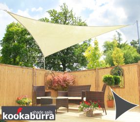 Kookaburra® 5,0m Driehoek Ivoor Party Schaduwdoek (Geweven - Waterafstotend)