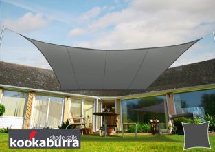 Kookaburra® 3,0m Vierkant Houtskool Party Schaduwdoek (Geweven - Waterafstotend)