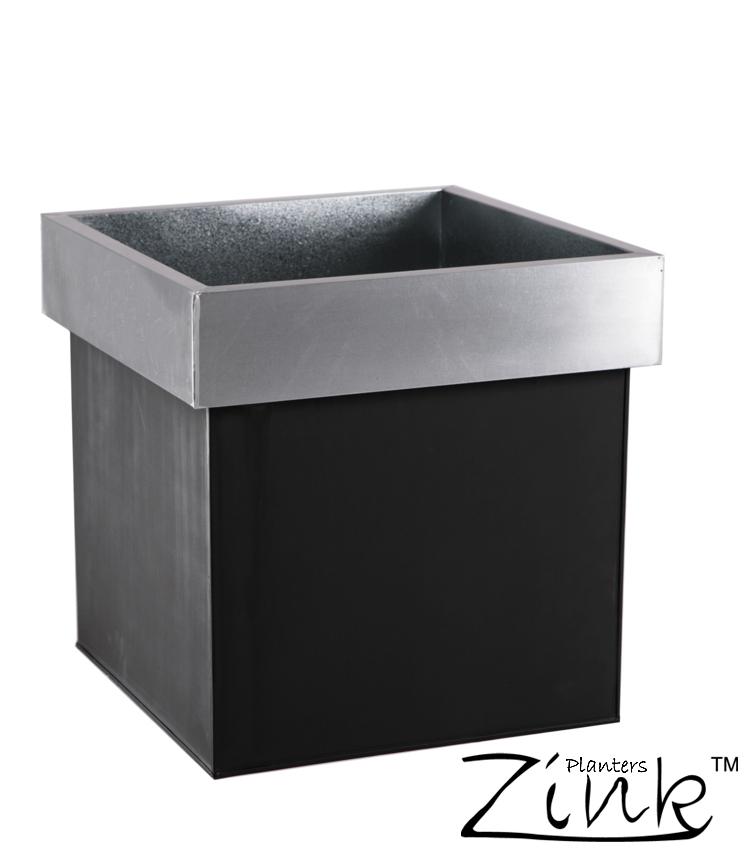 Kubus plantenbak van zink zwart grijs 45cm 44 99 - Kleur grijs zink ...