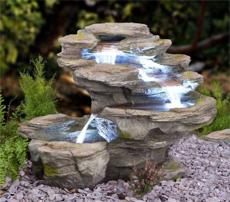 Ogen rivier vier lagen waterval met led verlichting 369 99 - Terrasse avec fontaine ...
