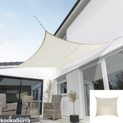 Kookaburra® 3,6m Vierkant Ivoor Party Schaduwdoek (Geweven - Waterafstotend)