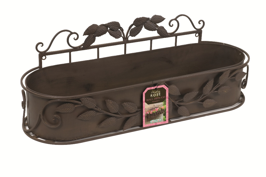 klimroos rustieke metalen muur plantenbak 70cm 34 99. Black Bedroom Furniture Sets. Home Design Ideas