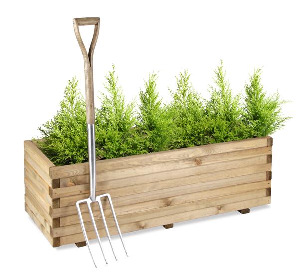 Langwerpige Houten Plantenbakken Voor Buiten.Verhoogde Langwerpige Vuren Plantenbak H40cm X B1 2m