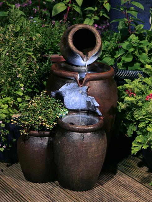 Terracotta Honingpot 2-Laagse Waterval Fontein met Plantenbak en LED ...