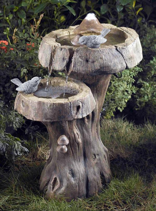 Paddestoel boom vogelbad waterornament met led for Waterornament tuin