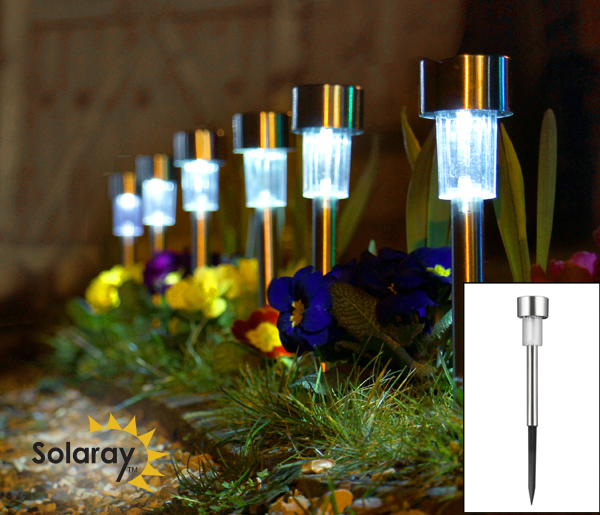 Solaray™ RVS Tuinlampen - Set van 6