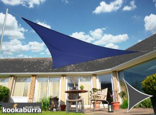 Kookaburra® 5,0m Driehoek Blauw Party Schaduwdoek (Geweven - Waterafstotend)