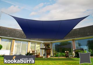 Kookaburra® 3,0m Vierkant Blauw Party Schaduwdoek (Geweven - Waterafstotend)