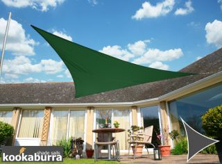 Kookaburra® 3,6m Driehoek Groen Party Schaduwdoek (Geweven - Waterafstotend)