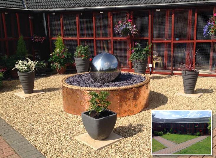 100cm bol fontein van gepolijst roestvrij staal met LED-verlichting ...