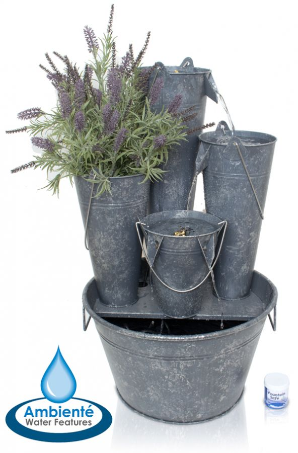 Borelli Cascade uit Zink met 3 Wateremmers,1 Emmer voor Planten en ...