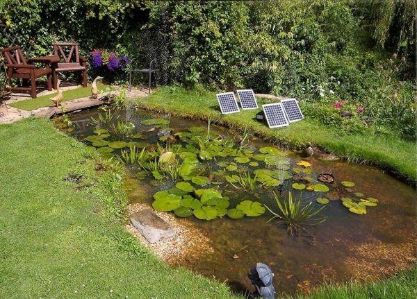 Solar waterpompset 1550l u met witte led verlichting for Natuurlijke vijver zonder pomp