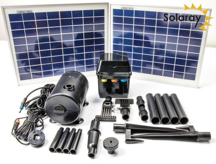 pomp kit op zonne energie met led verlichting van solaray 1200 l