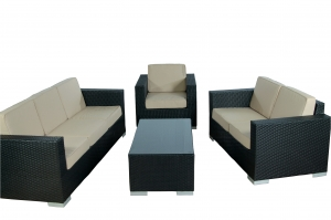 "Loungeset ""Paris XL"" Zwart Wicker, Zandkleurige Kussens"