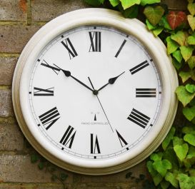 Perfect Time Tuinklok met Radiobesturing van About Time™ - Antiek Wit, 38cm
