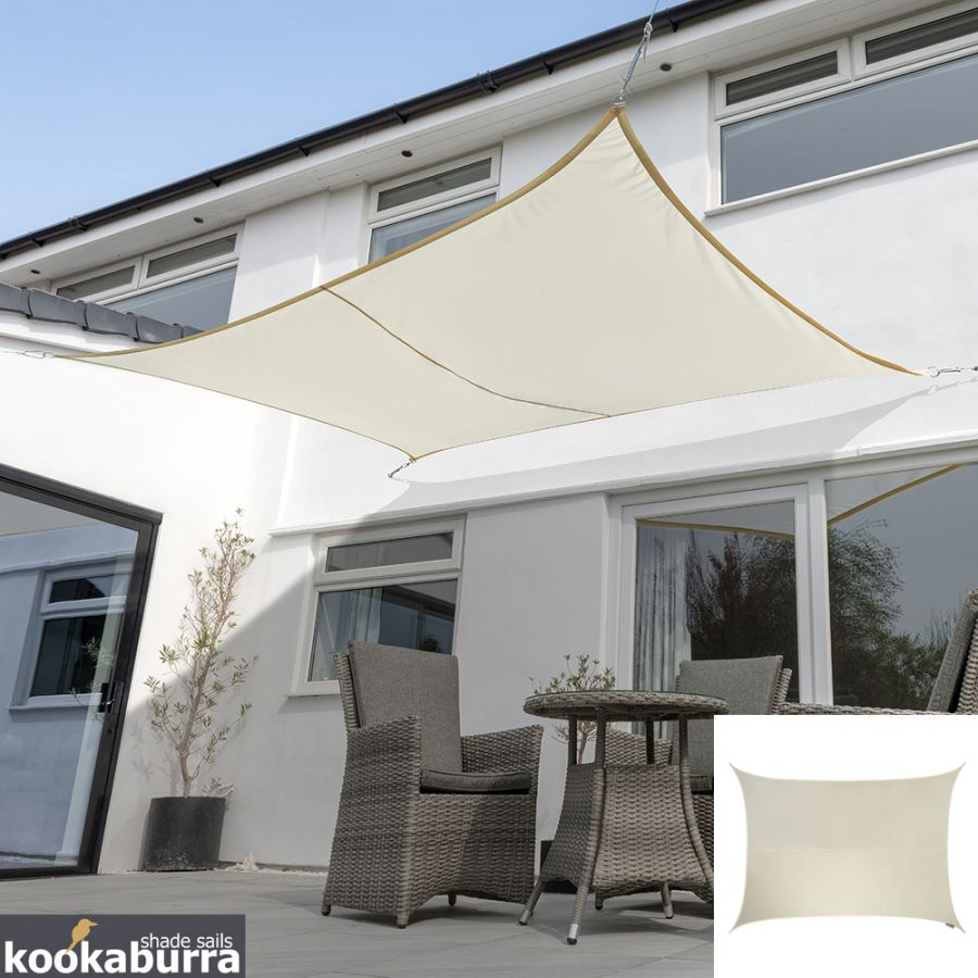 Kookaburra® 3,0mx2,0m Rechthoek Ivoor Party Schaduwdoek (Geweven - Waterafstotend)