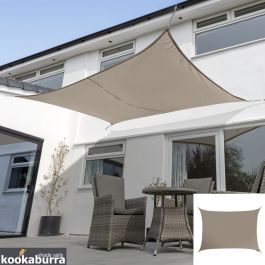 Kookaburra® 5,0mx4,0m Rechthoek Beige Party Schaduwdoek (Geweven - Waterafstotend)