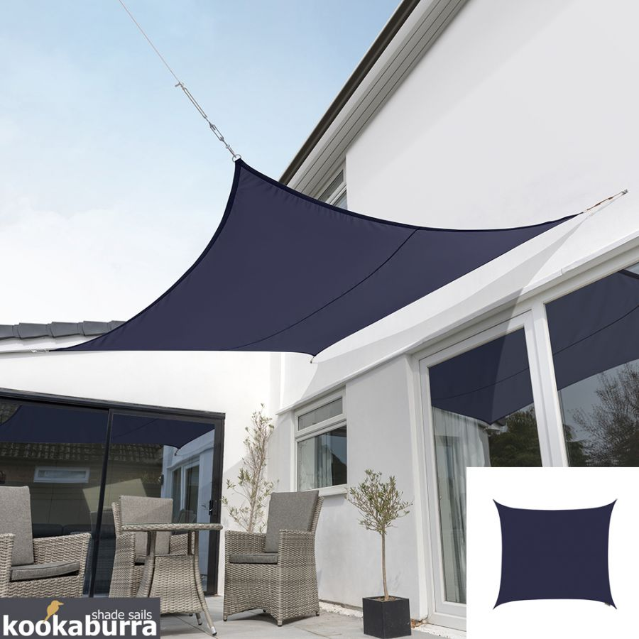 Kookaburra® 2,0m Vierkant Blauw Party Schaduwdoek (Geweven - Waterafstotend)