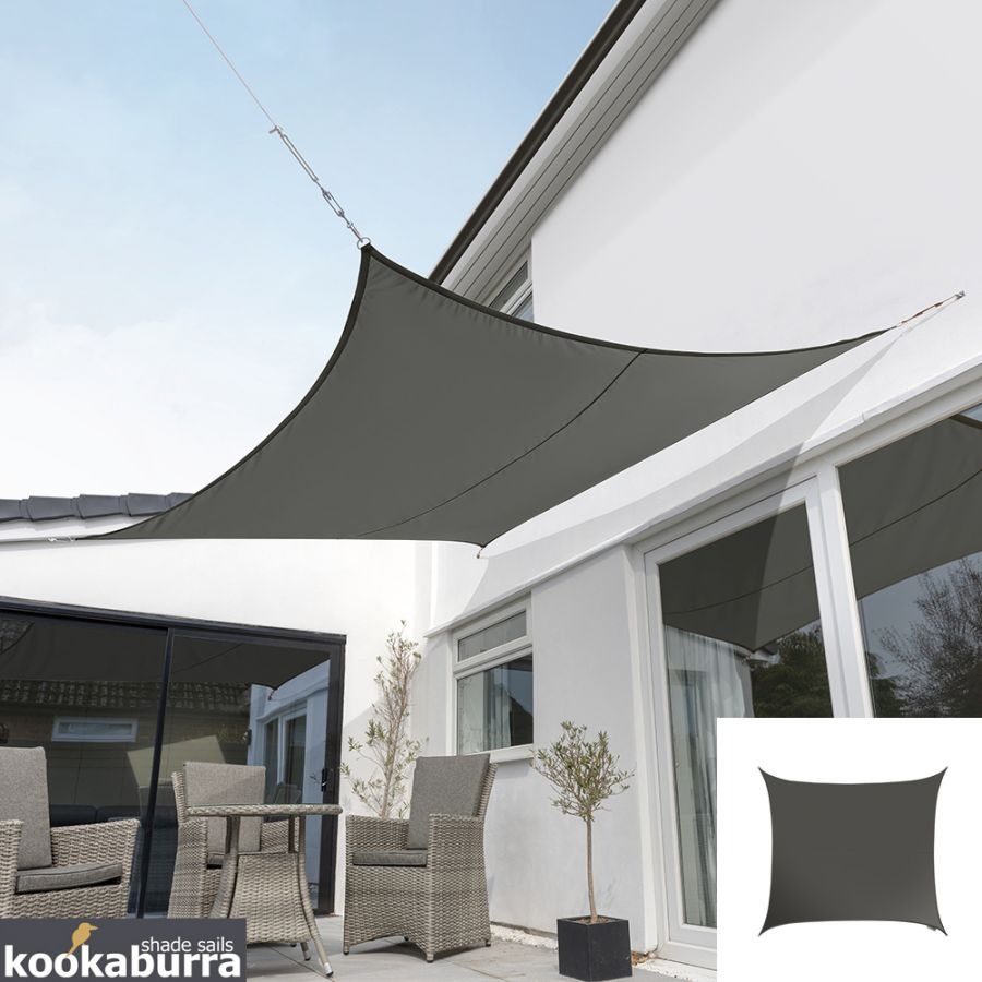 Kookaburra® 3,6m Vierkant Houtskool Party Schaduwdoek (Geweven - Waterafstotend)
