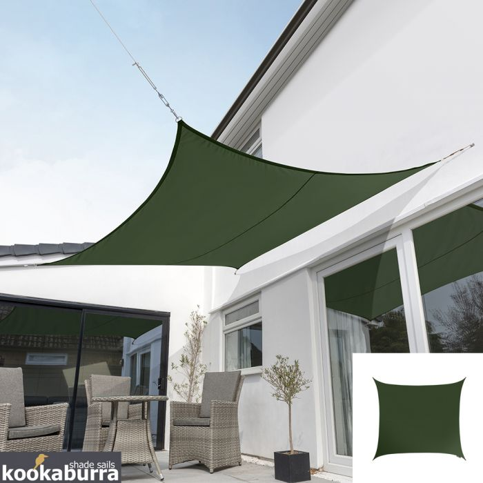 Kookaburra® 5,4m Vierkant Groen Party Schaduwdoek (Geweven - Waterafstotend)