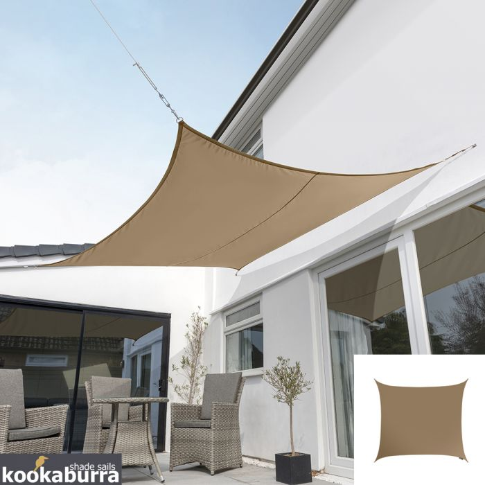 Kookaburra® 2,0m Vierkant Mokka Party Schaduwdoek (Geweven - Waterafstotend)