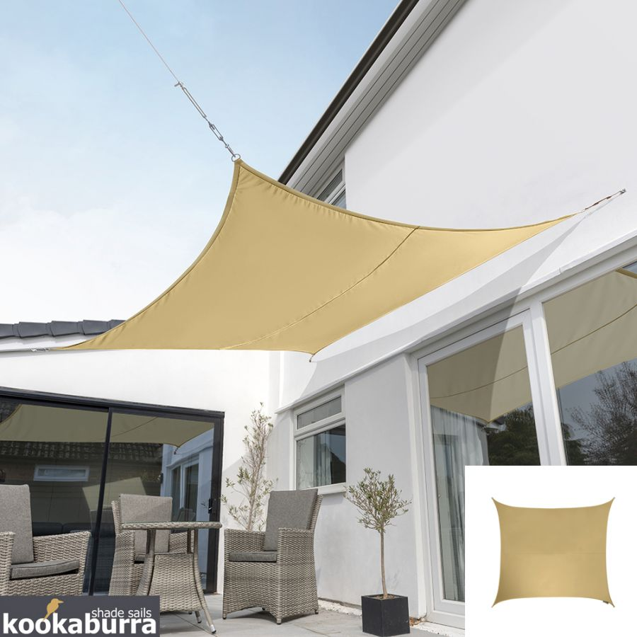 Kookaburra® 2,0m Vierkant Zand Party Schaduwdoek (Geweven - Waterafstotend)
