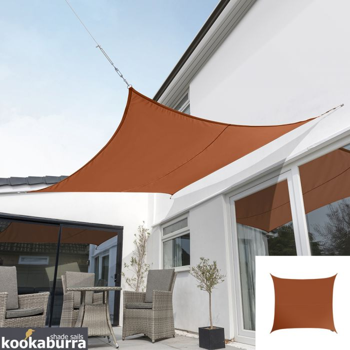 Kookaburra® 3,6m Vierkant Terracotta Party Schaduwdoek (Geweven - Waterafstotend)