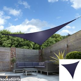 Kookaburra® 3,6m Driehoek Blauw Party Schaduwdoek (Geweven - Waterafstotend)