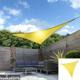 Kookaburra® 3,6m Driehoek Geel Party Schaduwdoek (Geweven - Waterafstotend)