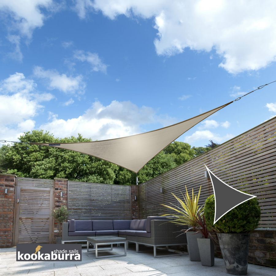Kookaburra® 3,6m Driehoek Beige Party Schaduwdoek (Geweven - Waterafstotend)