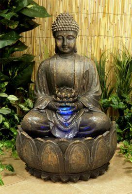 Boeddha met bloem met verlichting 129 99 - Buda jardin ...