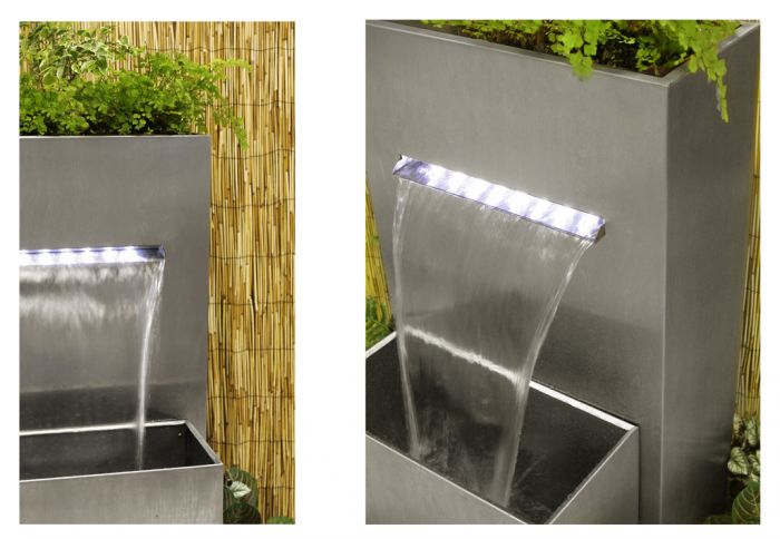 Fontein Met Plantenbak.Berkeley Kleine Rechthoekige Rvs Plantenbak En Waterval Met Led Verlichting 89cm Hoog